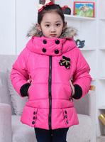Winter new girls down coat fur collar and long sections plus thick velvet Children down coat ,E9