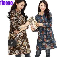 2015new women warm dress empire waist cotton blended long sleeve slim WINTER fleece dress elegant sweet plus size1247china trend