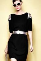 The new high-end women's clothing British wind joker sequined dresses Hollow nail bead waist show thin dress