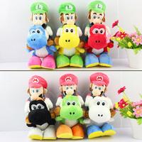 1PCS Super Mario Bros Plush 18cm 6 colors Mario Riding Yoshi Plush Doll Luigi Riding Yoshi Plush Toy