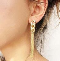 Hot Sale Retro Women Long Chunky Chain Earrings Golden Tassel Chain Ear Stud Penadant