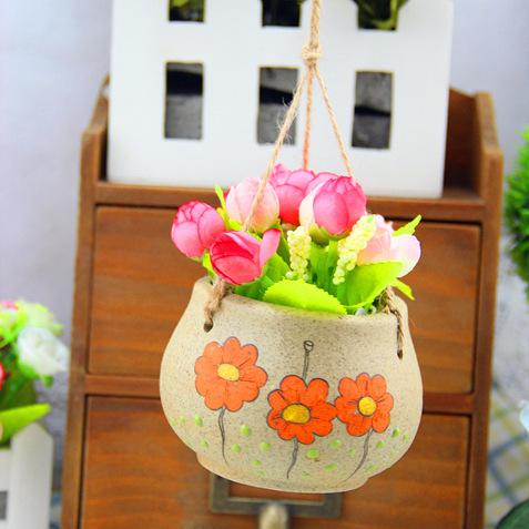 Stoneware pottery hanging handmade Jingdezhen Ceramic pots of succulents creative ornament personalized gift(China (Mainland))