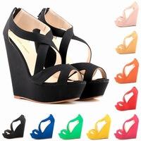 2015 new miffin wedge sandals women's high-heeled cross strap  waterproof fish head sandals 9color