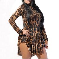 2015 European and American STYLE nightclub sexy bandage dress O-neck irregular draped long-sleeve leopard dress