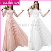 2015 Elegant Chiffon A-line Dress Lace Bridal Weding Dress Fashionable Women Vestidos With Zipper Back Free Shipping Sexy Dress3