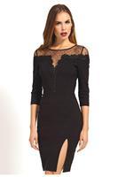 2015 Black Floral Mesh Detail Pencil Midi Dress LC6915 Casual Dress Winter Dress Sexy vestido de festa Free Shipping
