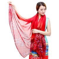 HOT sale!! winter & autumn women fashion soft warm scarf  flowers gradient scarf free shipping