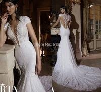Romantic Brand vestido de noiva Deep V-neck Lace Beading See Through Back Chapel Train Mermaid Wedding Dresses 2015