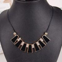 New European royal black enamel necklace chain gold square fashion noble trapezoidal colorful women 65448