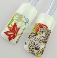 Wholesale 10pcs/lot 3D Nature Cool Leopard Red Flower Water Transfer Nail Art Sticker DIY Decals Beauty Salon 488# Free Shipping