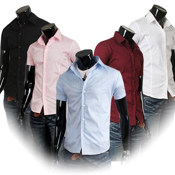 Verão homens camisa de manga curta lapela Slim Fit marca famosa blusa ocasional homens vestido sociais camisas 130931 grátis frete o seu amor(China (Mainland))