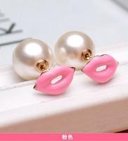 Min order is $10(mix order)New arrived Korean cute sided red lips pearl earrings earrings big lips fashion earring for women