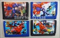 Wholesale - 504pcs Big Hero 6  cartoon wallet change pocket Frozen purse 4 styles mixed  with retail opp bag