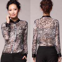 2014 spring new Korean Women pattern printing ink wear thin chiffon shirt