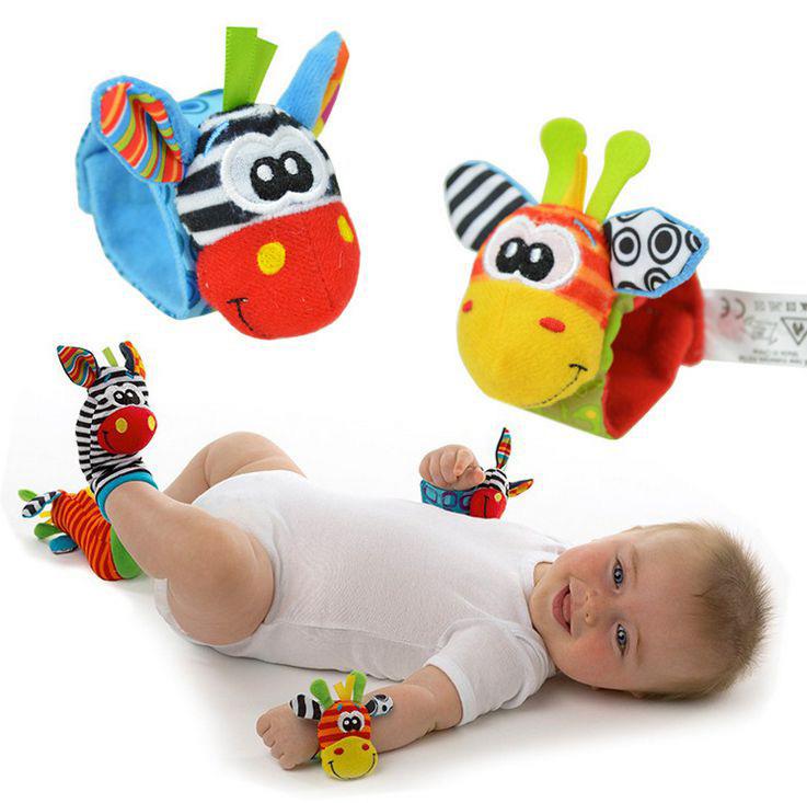 Baby Rattle Toys 4pcs=2 pcs waist+2 pcs socks/lot 0-12 months music infant toys playgro Garden Bug Wrist Rattle and Foot Socks(China (Mainland))