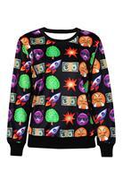 2015 New Printed Sweatshirt Hoodies Emoji Women Pullover Emoji Print Black Women Sweatshirt  LC25347 Casual Suit Track Suits