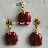 beautiful red jade elephant 14K gold plated earrings pendant set Wholesale silver hook Fine Jewelry sets
