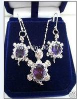 Beautiful purple crystal pendant earrings set Wholesale silver hook Fine Jewelry sets
