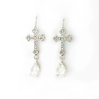 CZ crystal cross earring for women 2014 New fashion white gold earrings Wholesale Free shipping jewelry WTB177