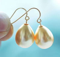 BEAUTY PAIR OF 12-16MM GOLD SHELL PEARL EARRINGS gold plated Earring Wholesale 4pcs Two pair silver hook Fine Jewelry sets