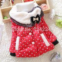 Toddler Baby Girls Polka Dot Bowknot Kids Winter Warm Cotton Coat Jacket Outwear