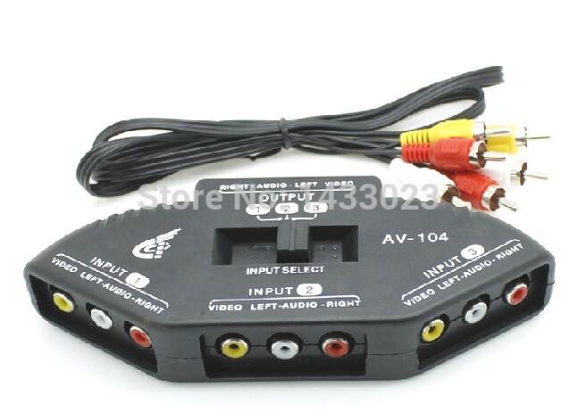 2Pcs/lot new arriva HOT SALE Free shipping NEW AV 3 into 1 out of the converter AV TV AV switcher(China (Mainland))