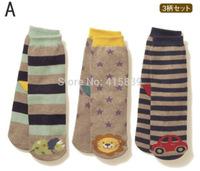 300pair/lot wholesale striped cartoon style cotton unisex kids children's floor socks