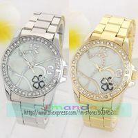 100pcs/lot Clover Design Crystal Alloy Watch Fashion Ladies Dress Watch Excellent Seller Quartz Casual Watch Factory Price