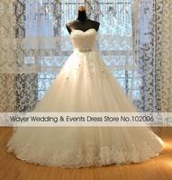 Real Pictures Gorgeous Sweetheart Lace Appliques Handwork Beaded Belt Wedding Dresses vestidos de noiva casamento boda 2015