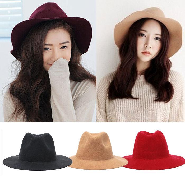 2015 Winter Spring  Fashion New 4 Colors Vintage Women Ladies Floppy Wide Brim Flannel Felt Fedora Cloche Hat Cap (China (Mainland))