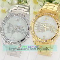 100pcs/lot Musical Notes Design Ladies Crystal Watch Fashion Ladies Dress Alloy Watch Wrap Quartz Nice Watch Casual Watch