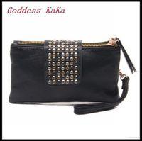 2014 women Day clutch purses wallet new style fashion Rivet handbag women high quality leather bags K009