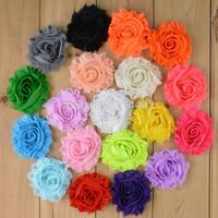 Free Shipping 100pcs/lot 19 colors 2.5'' Chiffon shabby frayed  flowers Headbands DIY flower accessary
