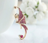 Gold White Crystal Butterfly Ear Cuffs Left Clip On Cartilage Ear Cuff Earring ES020