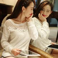 new women 2015 spring lace chiffon blouses casual cute hollow out long sleeve slim elegant white blusas femininas t shirt tops