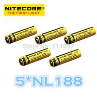 FREE SHIPPING ORIGINAL 5 Pcs NL188 Nitecore 18650 Li-ion Rechargeable Battery 3100mAh 3.7V 11.5Wh