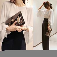 Korean Style 2015 Women O Neck Long Sleeve Chiffon Shirt Loose Lantern Sleeve Office Clothes White Casual Tops Blouse