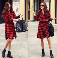 2014 New Korean Style Women's Long Plaid shirt Long sleeve Blouse Tops Fashion