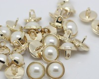 10 pieces fashioin gold metal 11mm round women's shirt overcoat jeans buttons with white pearl beads nmb117
