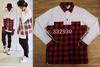 New Cool side zipper plaid Pockets shirt men hip hop Red White flannel brand Tyga Shirt tartan designer clothes streetwear hba