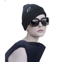 2015 New Winter Women Winter Hats Black Cotton Winter Cap Warm and Thick Women Knitting Beanie