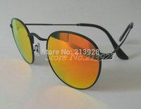 2pcs Men's Women's High quality Sunglasses Round Metal Black Frame 50mm Fire Glass Lenses 6 colors Beach Sun Glasses With Box