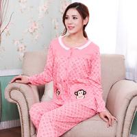 new 2015 spring autumn pajamas Women nightwear cardigan lounge home clothing set knitted cotton female print sleepwear ladies