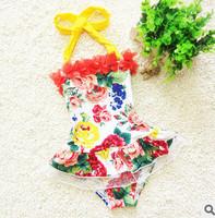 New Design!Lovely Floral Printing Swim wear Baby Girl Swimsuit  Kids Bathing Suits One-piece Beachwears Bikini 2~7Y children