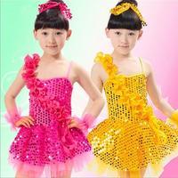 2015 new fashion Kids Girls Children skirt costumes performance clothing Latin dance costume dance sequined dress veil