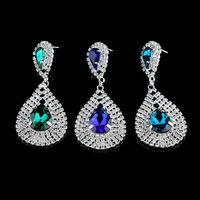 Fashion brand new 2015 lustre long crystal earrings brincos glass royal blue rhinestone water drop earrings
