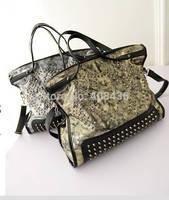 New European and American Winter Big Snakeskin Retro Handbag Vintage Shoulder Messenger Bag Larger Rivet Tote Bag Bolsa 0332A