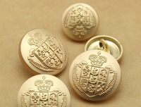 popular 10 pieces gold palted alloy metal 20mm british style crown men' suit over coat jeans button nmb107