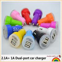 100pcs/lot Colors Dual USB Port Car Charger For IPhone 5 4S 3GS 3G IPod IPad 2 Mini Auto Adapter 2.1A 2A,Free DHL/Fedex #cc002