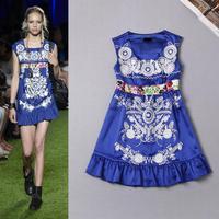 High Quality New Fashion 2015 Spring Summer Runway Dress Women Luxury Embroidery Ruffles Blue Dress Sexy Short Above Knee Dress